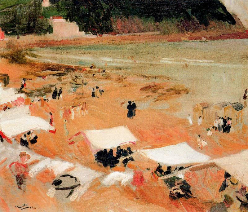 Beach at Zarauz, Oil by Joaquin Sorolla Y Bastida (1863-1923, Spain)