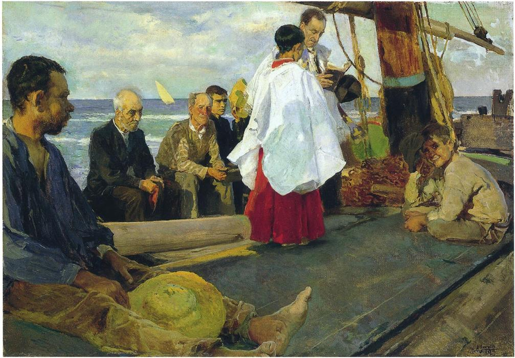 Blessing the Boat, Oil by Joaquin Sorolla Y Bastida (1863-1923, Spain)
