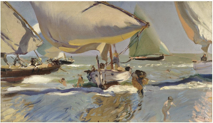 Boats on the beach, Oil by Joaquin Sorolla Y Bastida (1863-1923, Spain)