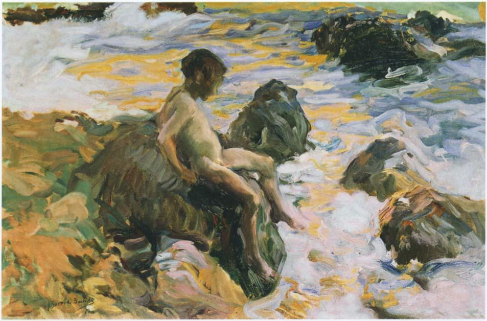 Boy in Sea Foam, Oil by Joaquin Sorolla Y Bastida (1863-1923, Spain)