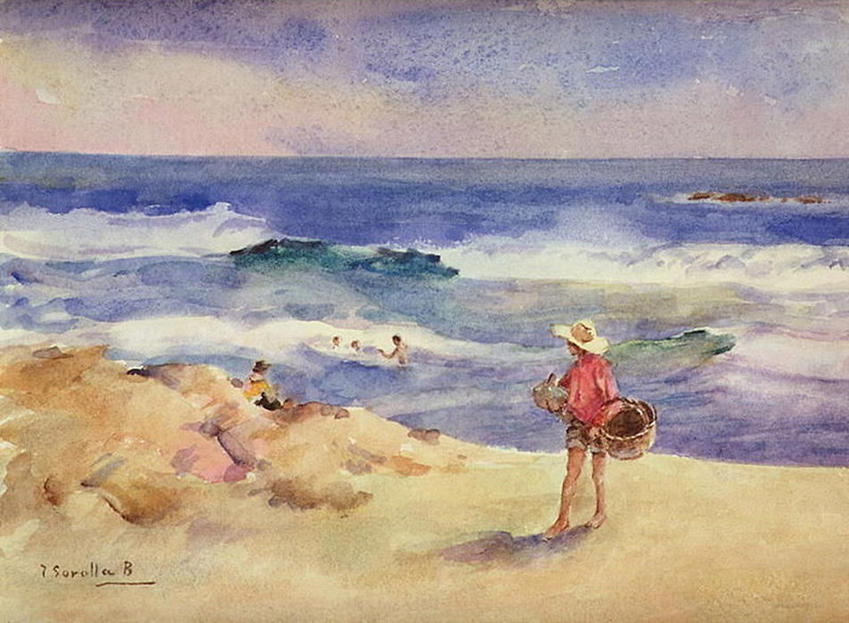 Boy on the Sand, Oil by Joaquin Sorolla Y Bastida (1863-1923, Spain)