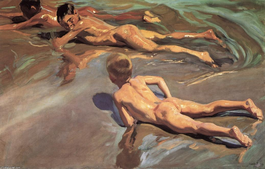 Boys on the Beach, Oil by Joaquin Sorolla Y Bastida (1863-1923, Spain)