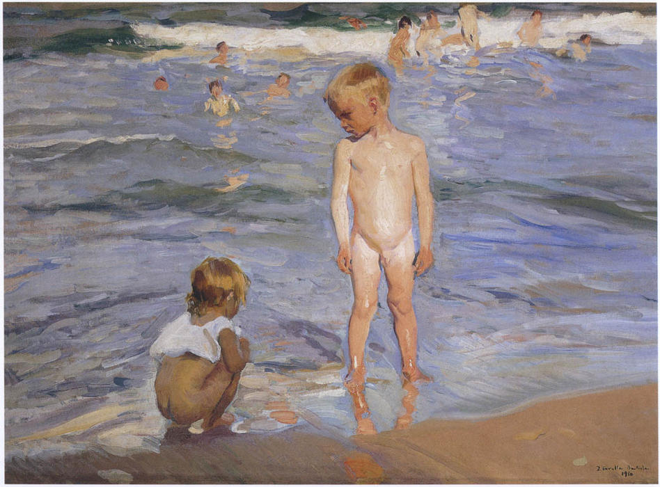 Children bathing in the afternoon sun, Oil On Canvas by Joaquin Sorolla Y Bastida (1863-1923, Spain)