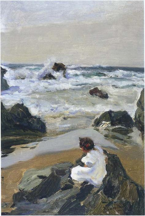 Elenita at the Beach, Asturias, Oil On Canvas by Joaquin Sorolla Y Bastida (1863-1923, Spain)