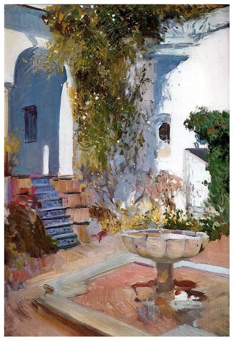 Fountain at the Alcazar in Sevilla, Oil On Canvas by Joaquin Sorolla Y Bastida (1863-1923, Spain)