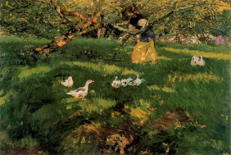 Herding Geese in the Asturias, Oil On Canvas by Joaquin Sorolla Y Bastida (1863-1923, Spain)