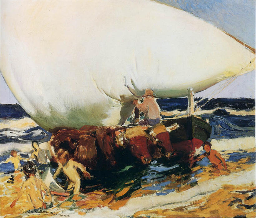 In the Beach, Valencia, Oil by Joaquin Sorolla Y Bastida (1863-1923, Spain)