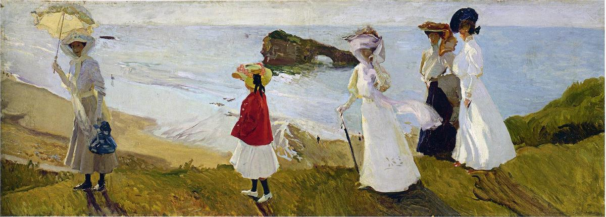 Lighthouse walk at Biarritz, Oil On Canvas by Joaquin Sorolla Y Bastida (1863-1923, Spain)