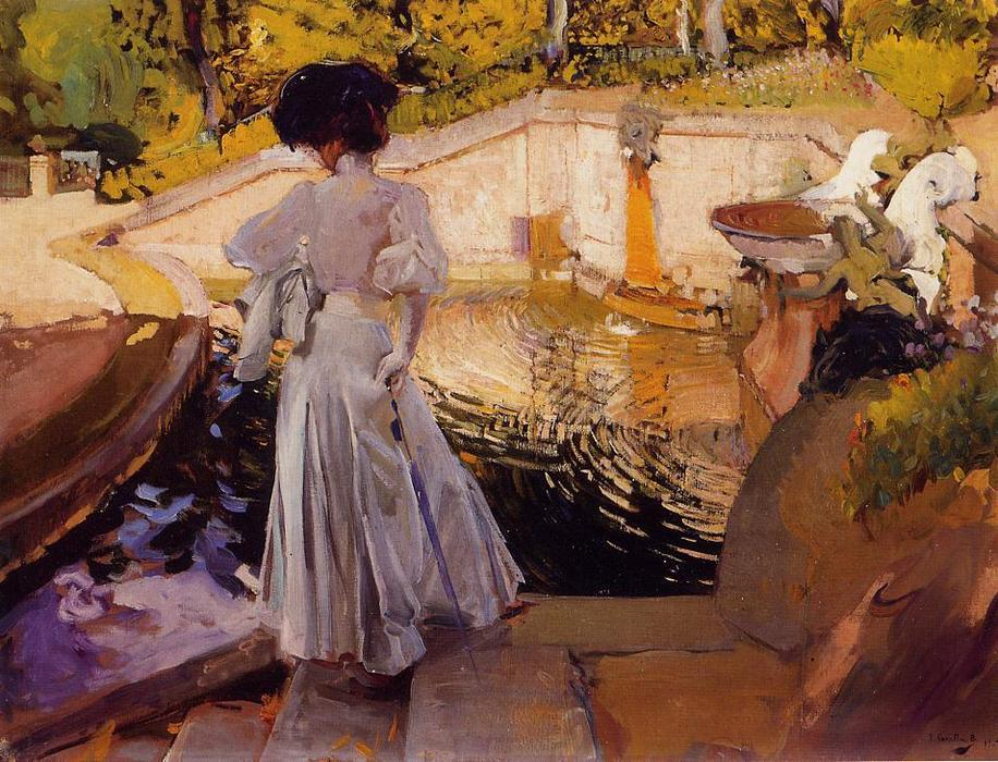 Maria, Watching the Fish, Granja, Oil On Canvas by Joaquin Sorolla Y Bastida (1863-1923, Spain)