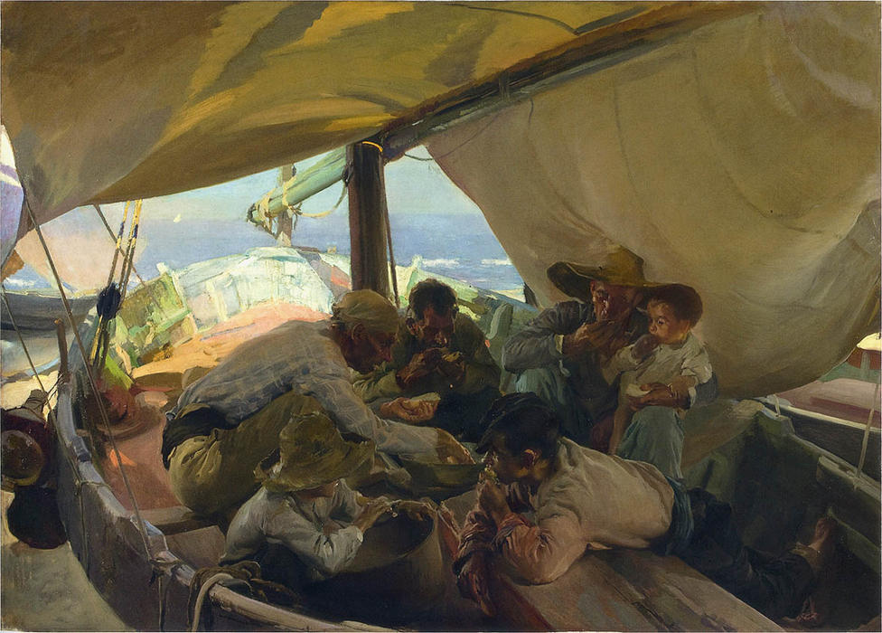 Meal on the Boat, Oil On Canvas by Joaquin Sorolla Y Bastida (1863-1923, Spain)