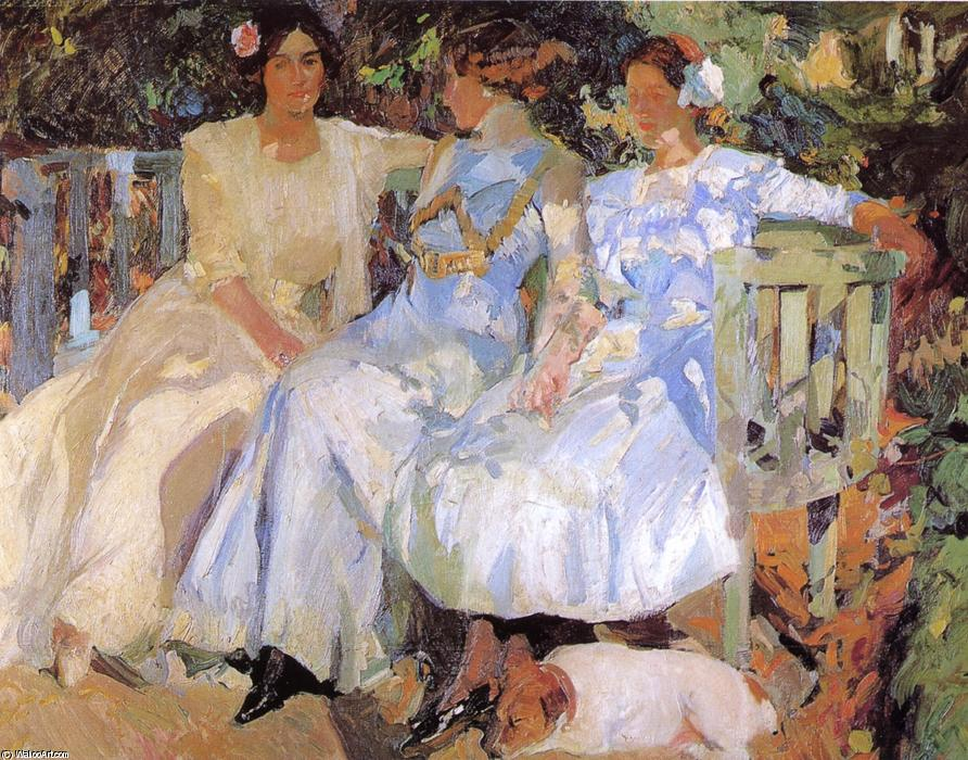 My Wife and Daughters in the Garden, Oil On Canvas by Joaquin Sorolla Y Bastida (1863-1923, Spain)