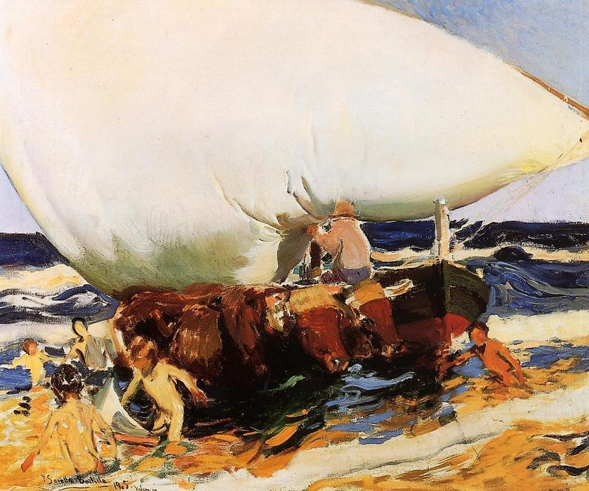 On the Beach, Valencia, Oil On Canvas by Joaquin Sorolla Y Bastida (1863-1923, Spain)