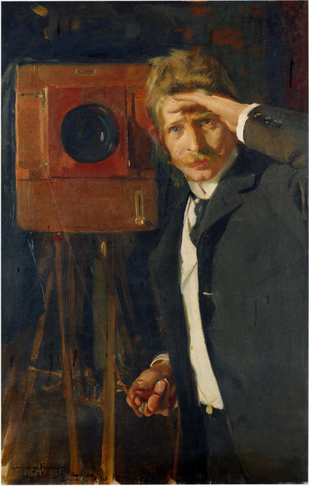 Portrait of photographer, Christian Franzen, Oil On Canvas by Joaquin Sorolla Y Bastida (1863-1923, Spain)
