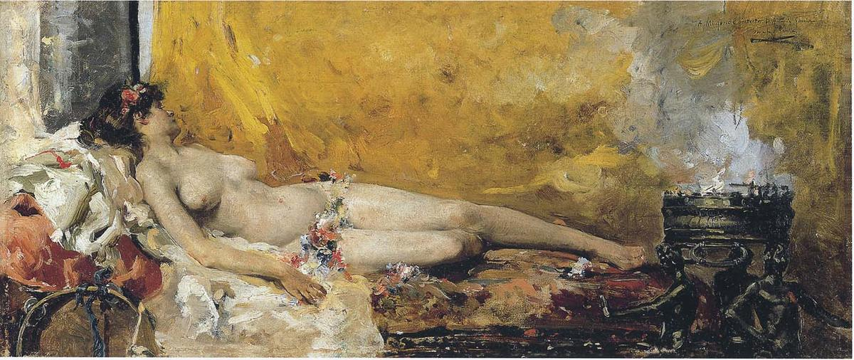 Resting Bacchante, Oil On Canvas by Joaquin Sorolla Y Bastida (1863-1923, Spain)