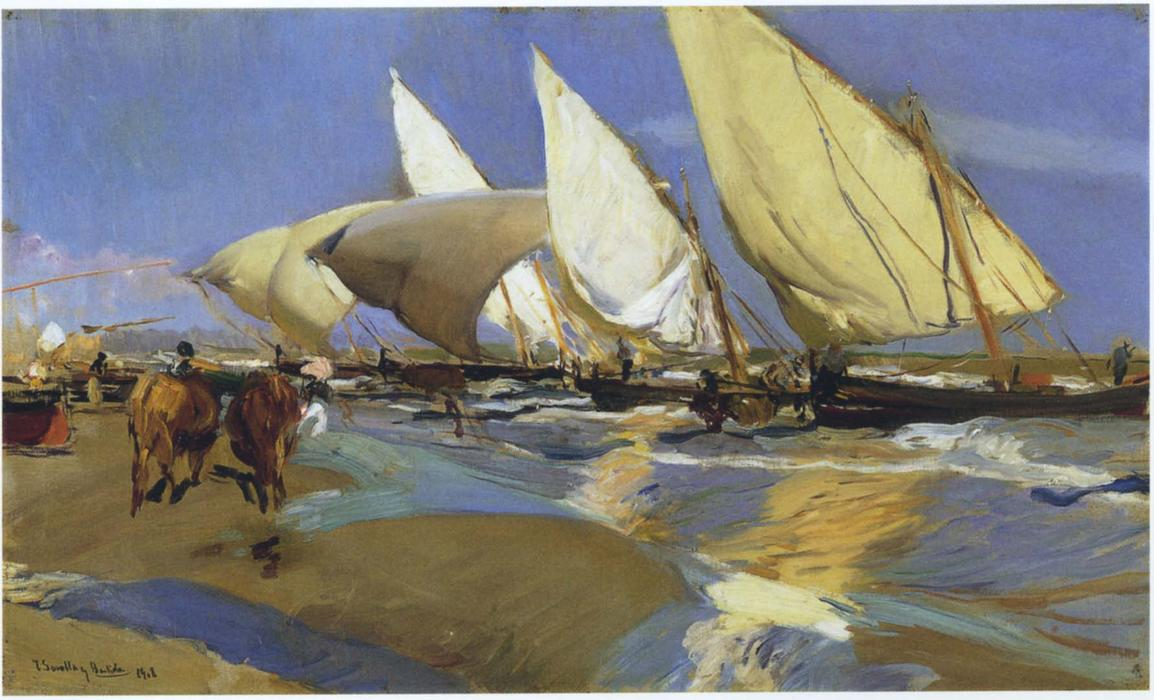 Return From Fishing, Oil On Canvas by Joaquin Sorolla Y Bastida (1863-1923, Spain)