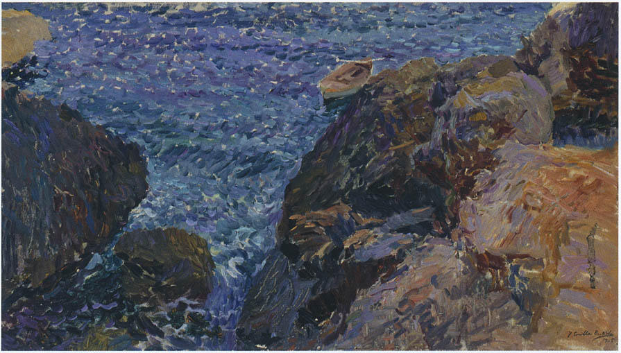 Rocks at Javea, The White Boat, Oil On Canvas by Joaquin Sorolla Y Bastida (1863-1923, Spain)