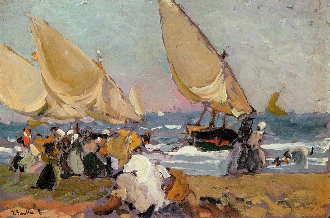 Sailing Vessels on a Breezy Day, Valencia, Oil On Panel by Joaquin Sorolla Y Bastida (1863-1923, Spain)