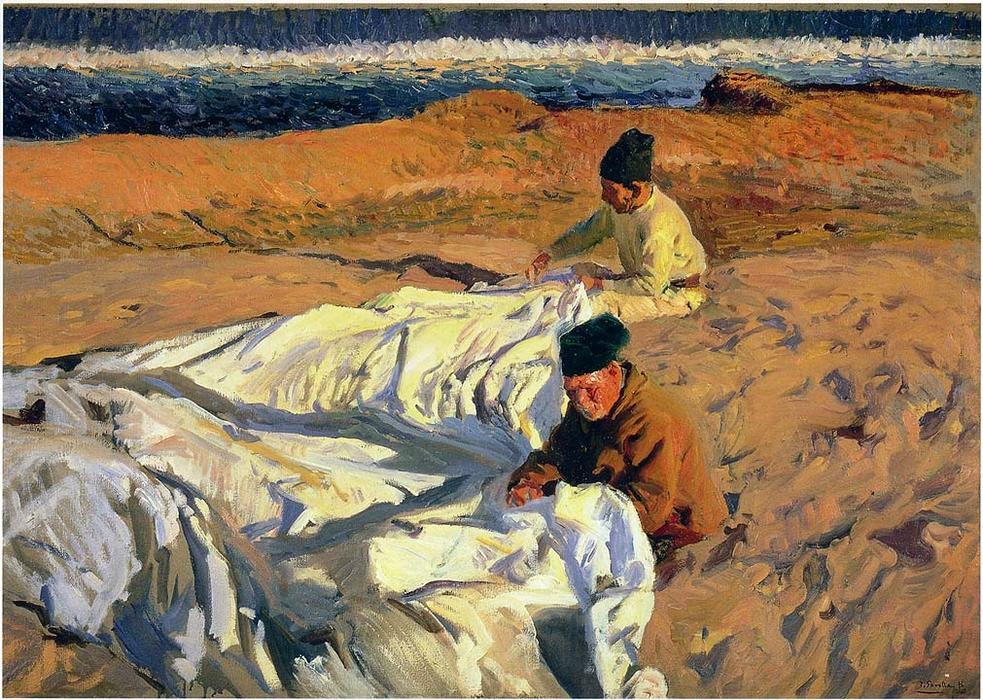 Sewing the Sail, Oil by Joaquin Sorolla Y Bastida (1863-1923, Spain)