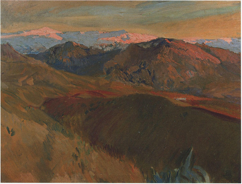 The cemetery at Sierra Nevada, Granada, Oil by Joaquin Sorolla Y Bastida (1863-1923, Spain)