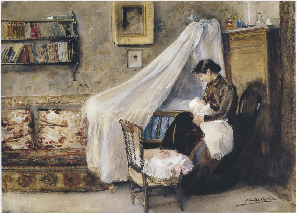 The First child, Oil On Canvas by Joaquin Sorolla Y Bastida (1863-1923, Spain)
