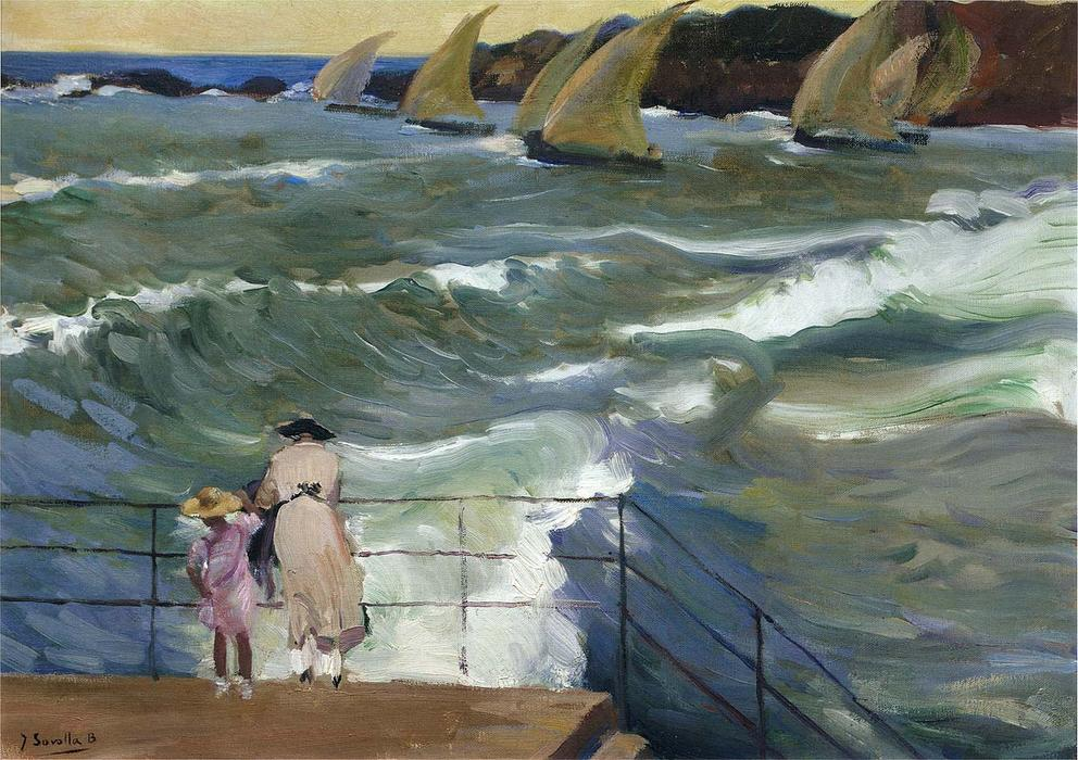 The Waves at San Sebastian, Oil On Canvas by Joaquin Sorolla Y Bastida (1863-1923, Spain)