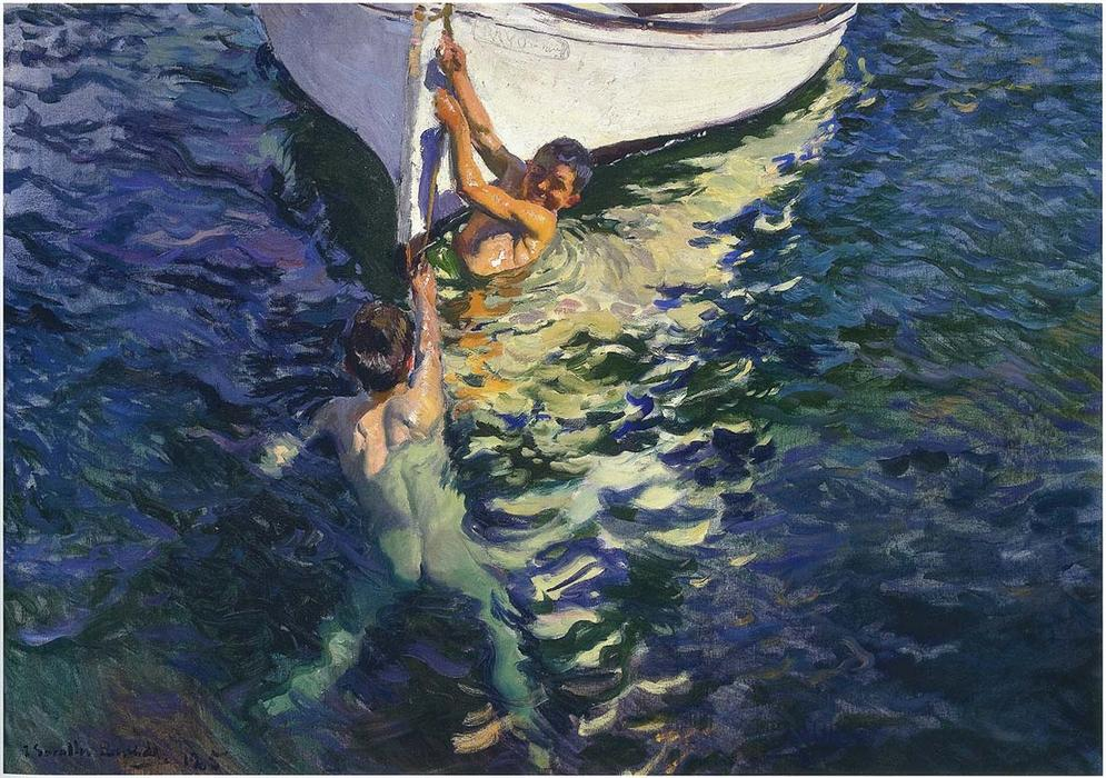 The White Boat, Javea, Oil On Canvas by Joaquin Sorolla Y Bastida (1863-1923, Spain)
