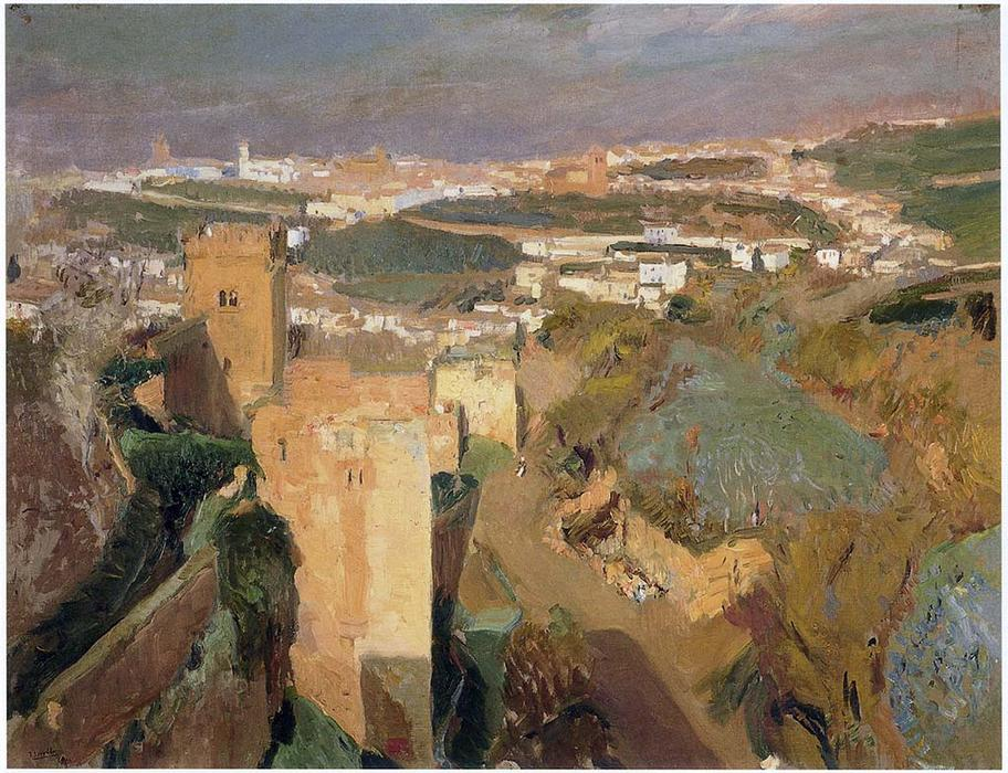 Tower of Seven, pont Alhambra, Granada, Oil On Canvas by Joaquin Sorolla Y Bastida (1863-1923, Spain)