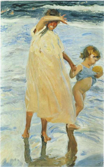 Two sisters, Oil by Joaquin Sorolla Y Bastida (1863-1923, Spain)