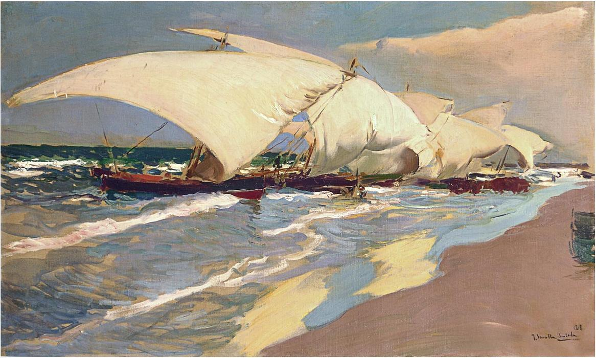 Valencian boats, Oil On Canvas by Joaquin Sorolla Y Bastida (1863-1923, Spain)