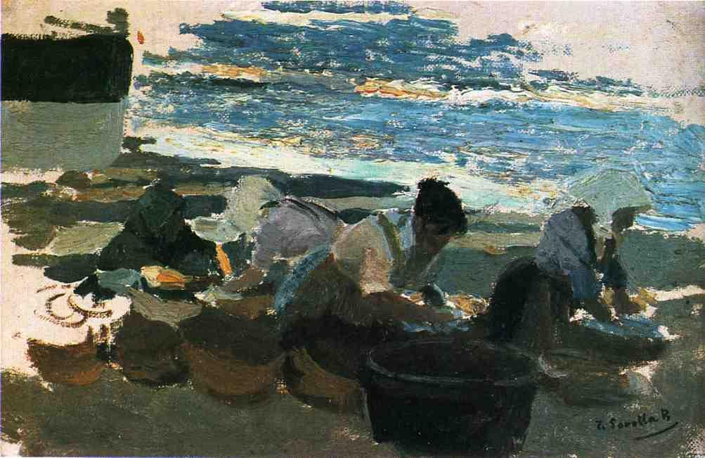 Washerwomen (sketch), Oil On Canvas by Joaquin Sorolla Y Bastida (1863-1923, Spain)