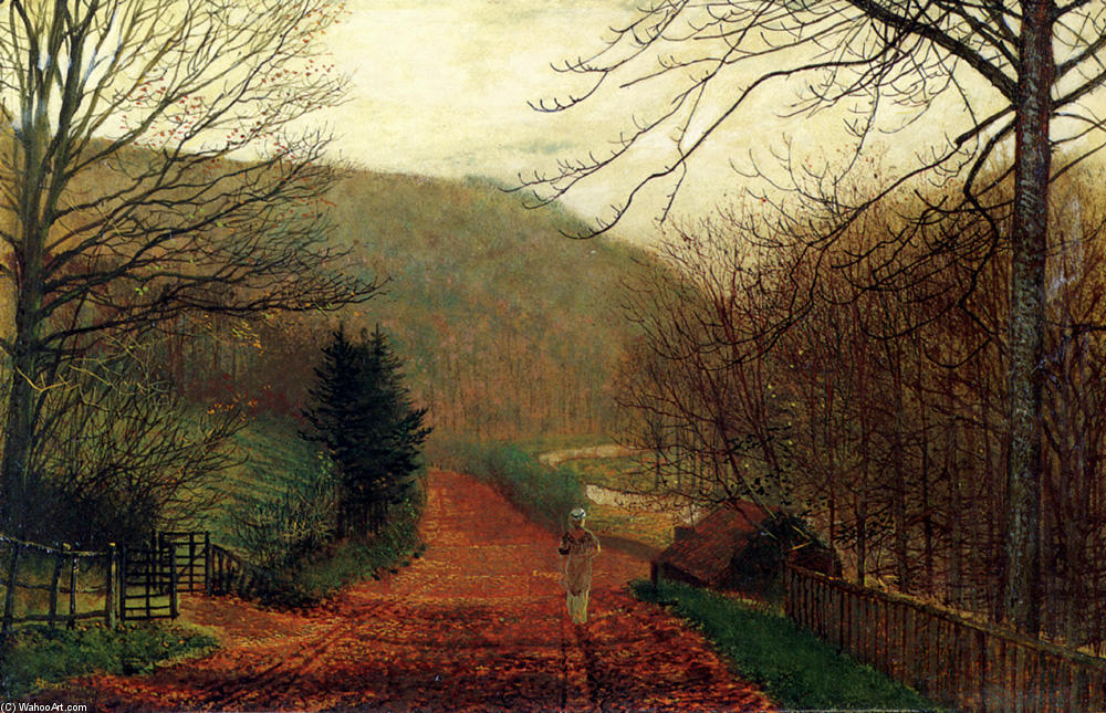 Forge Valley, Scarborough, Oil On Panel by John Atkinson Grimshaw (1836-1893, United Kingdom)