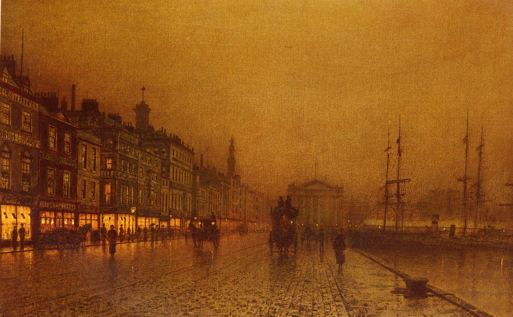 Greenock Dock by John Atkinson Grimshaw (1836-1893, United Kingdom)
