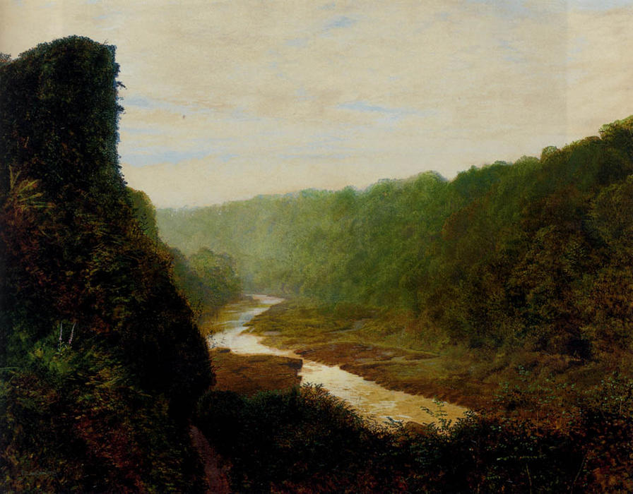 Landscape with a winding river, Oil On Panel by John Atkinson Grimshaw (1836-1893, United Kingdom)