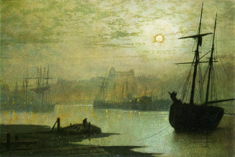 On the Esk, Whitby, Oil by John Atkinson Grimshaw (1836-1893, United Kingdom)