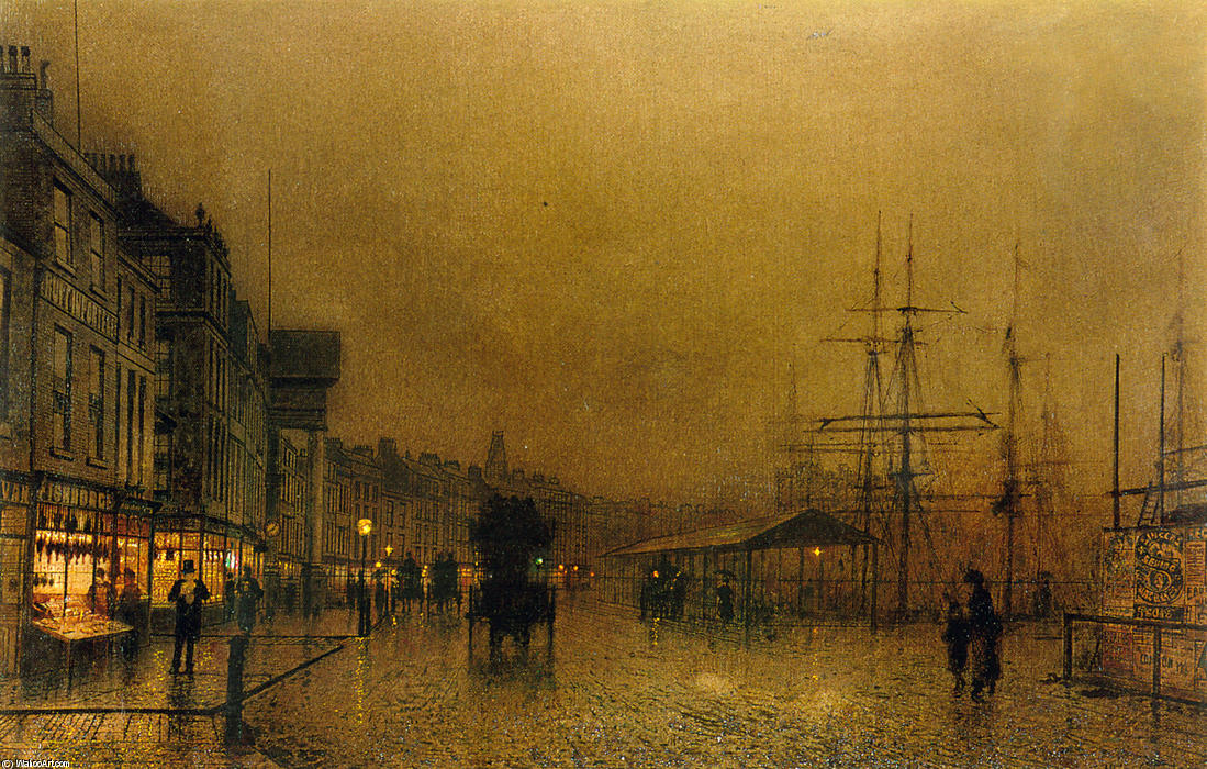 Salthouse Dock, Liverpool, Oil On Canvas by John Atkinson Grimshaw (1836-1893, United Kingdom)