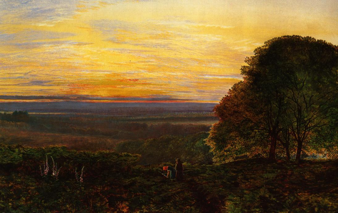Sunset from Chilworth Common, Hampshire by John Atkinson Grimshaw (1836-1893, United Kingdom)