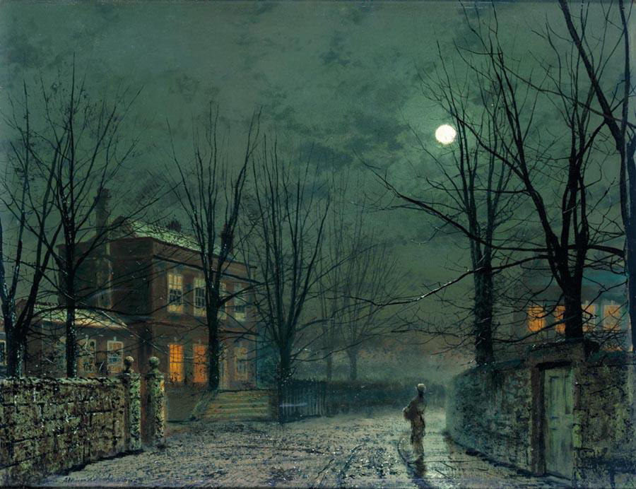 The Old Hall Under Moonlight by John Atkinson Grimshaw (1836-1893, United Kingdom)