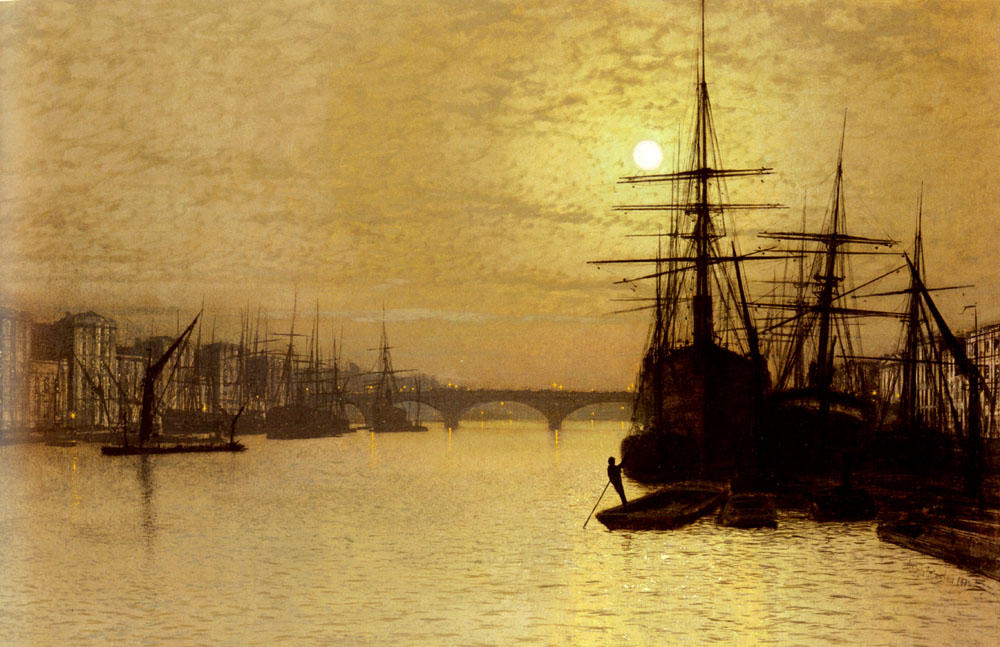 The Thames Below London Bridge by John Atkinson Grimshaw (1836-1893, United Kingdom)