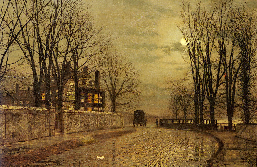 The Turn of the Road by John Atkinson Grimshaw (1836-1893, United Kingdom)