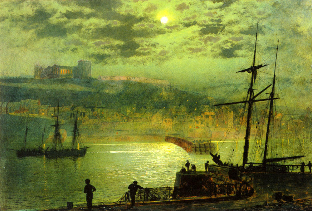 Whitby from Scotch Head, Oil On Panel by John Atkinson Grimshaw (1836-1893, United Kingdom)