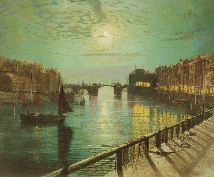 Whitby Harbour by Moonlight, Oil by John Atkinson Grimshaw (1836-1893, United Kingdom)