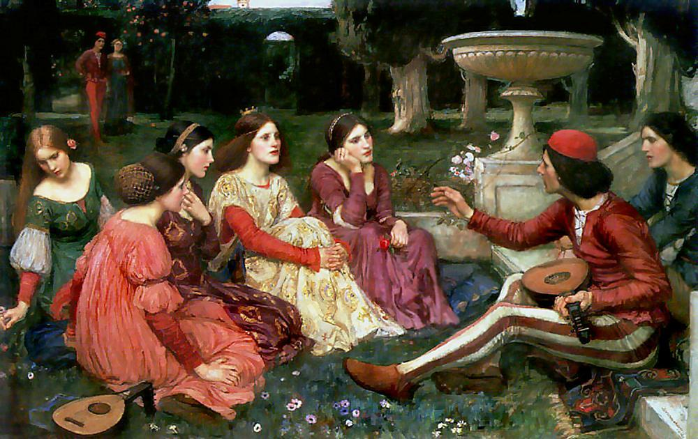 Tale from the Decameron, 1916 by John William Waterhouse (1849-1917, Italy) | Museum Quality Copies John William Waterhouse | ArtsDot.com