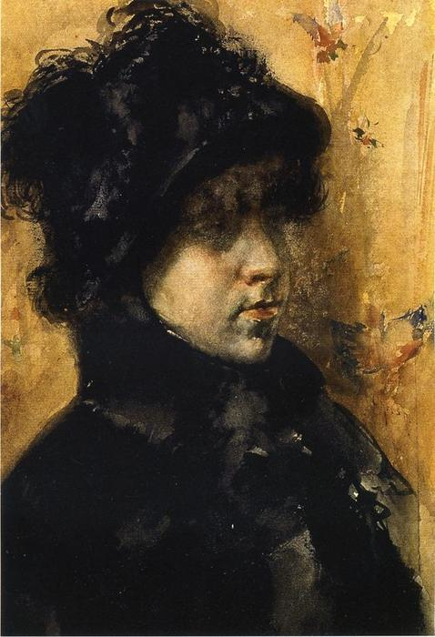 A Portrait Study, Watercolour by William Merritt Chase (1849-1916, United States)