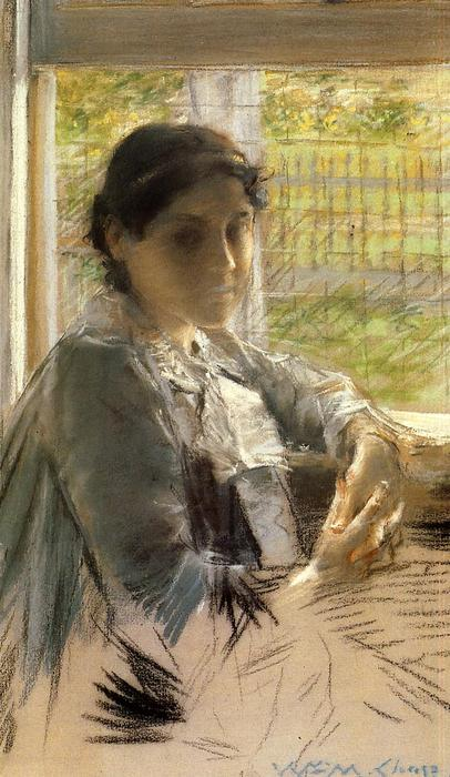 At the Window, Pastel by William Merritt Chase (1849-1916, United States)