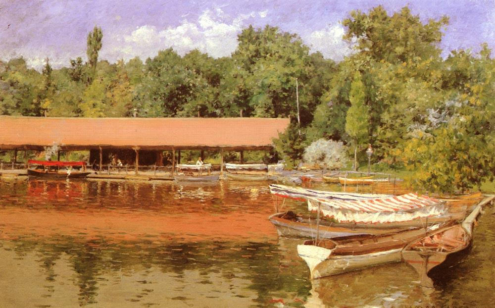 Boat House, Prospect Park, Oil by William Merritt Chase (1849-1916, United States)