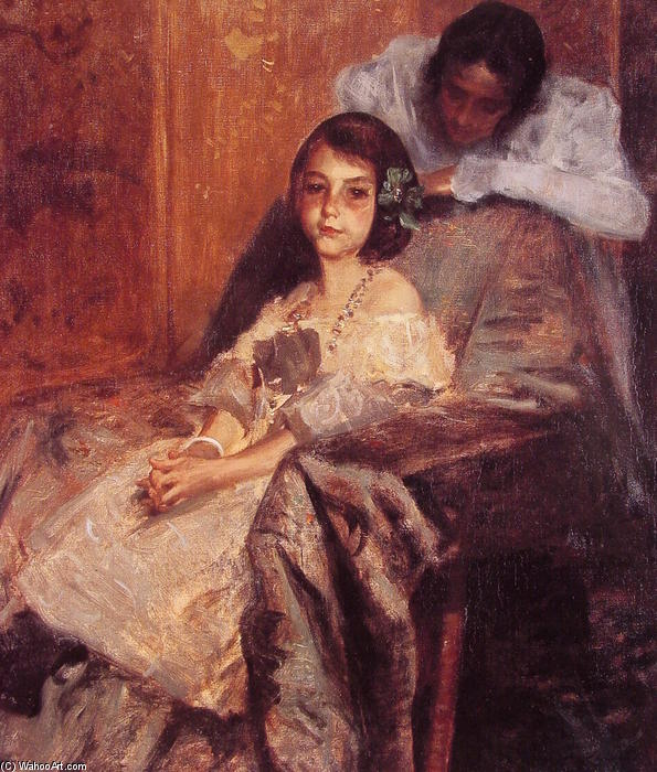 Dorothy and Her Sister 1, Oil by William Merritt Chase (1849-1916, United States)