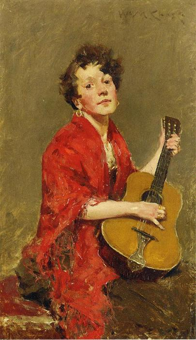 Girl with Guitar, 1886 by William Merritt Chase (1849-1916, United States) | ArtsDot.com