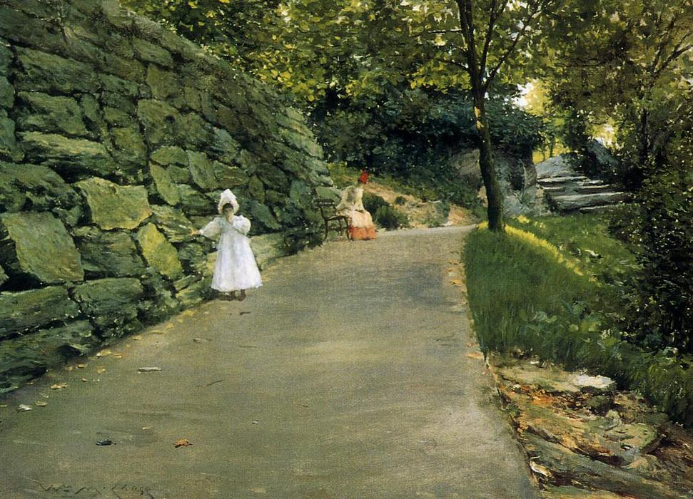 In the Park - a By-Path, Oil On Canvas by William Merritt Chase (1849-1916, United States)