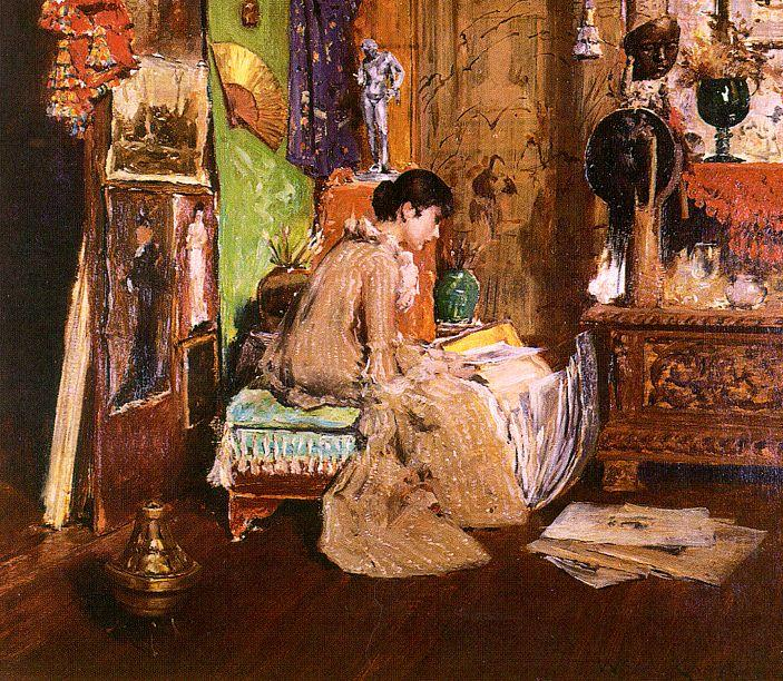 In the Studio Corner, Oil by William Merritt Chase (1849-1916, United States)