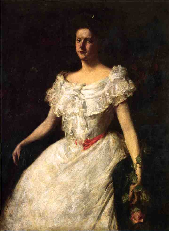 Portrait of a Lady with a Rose, Oil On Canvas by William Merritt Chase (1849-1916, United States)